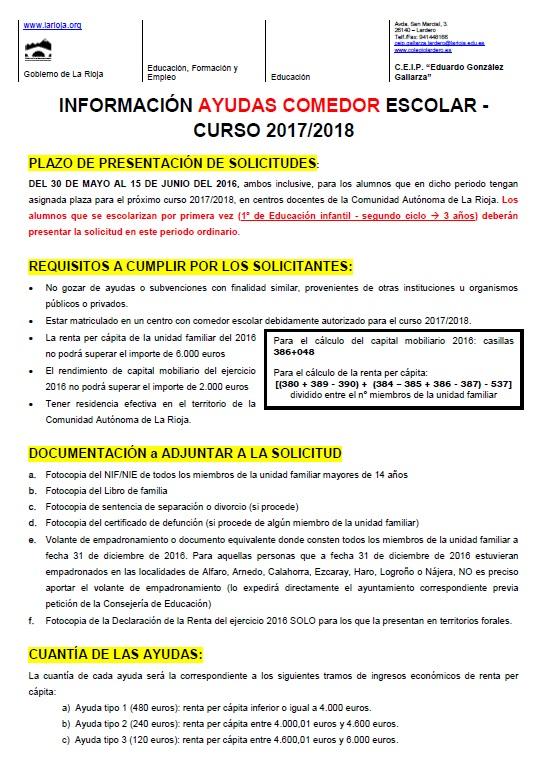 2017/18 Ayudas Comedor - CEIP Gonzalez Gallarza